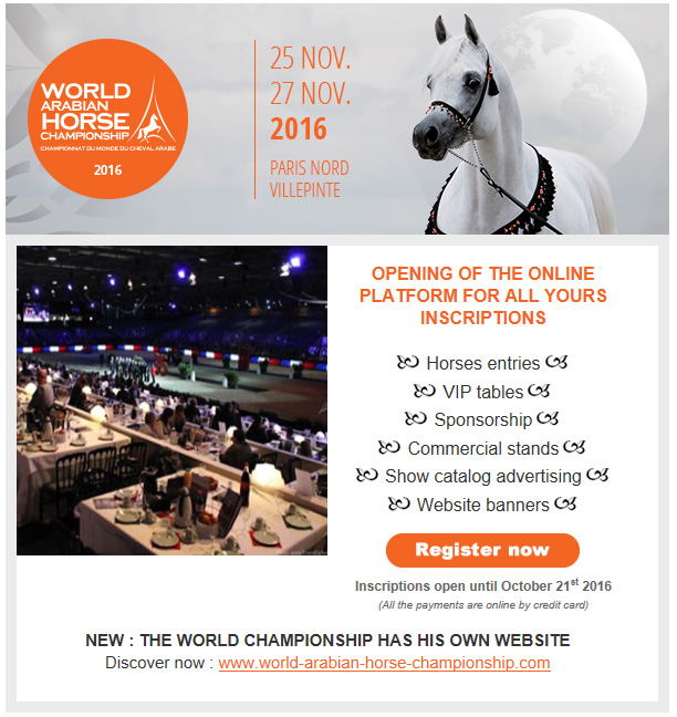 World Arabian Horse Championship. Paris, 25th to 27th November 2016